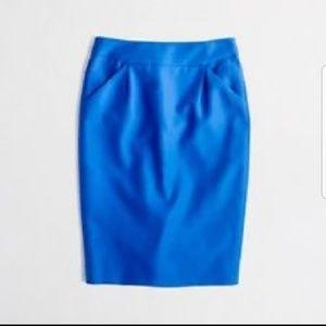 J Crew Bkue Pencil Skirt